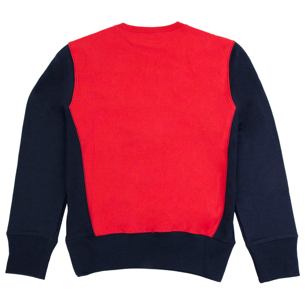 Champion 3 Panel Crew Neck Sweatshirt in Navy / White / Red - Back