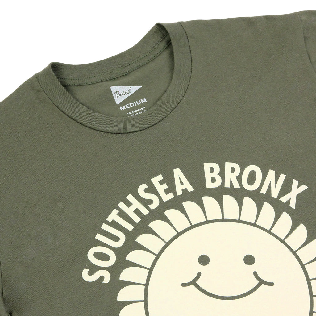 Southsea Bronx Strong Island T Shirt in Ecru on Military Green - Detail