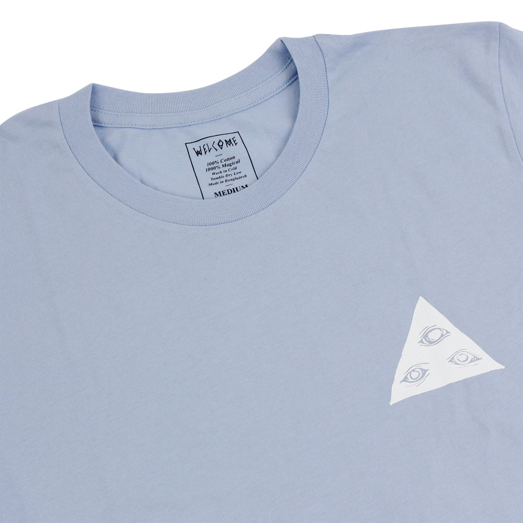 Welcome Skateboards Talisman T Shirt in Baby Blue / White - Detail