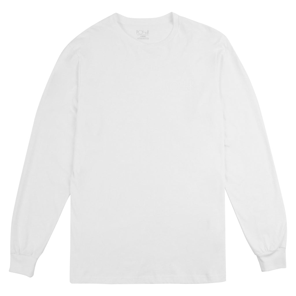 Polar Skate Co Behind The Curtain L/S T Shirt in White / White / White - Front