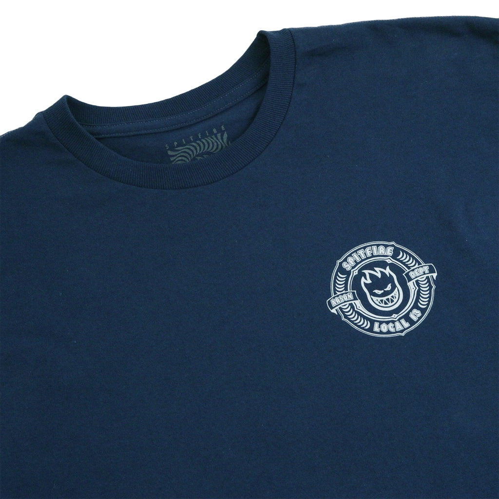 Bored of Southsea x Spitfire Wheels Arson Dept T Shirt in Harbour Blue - Detail