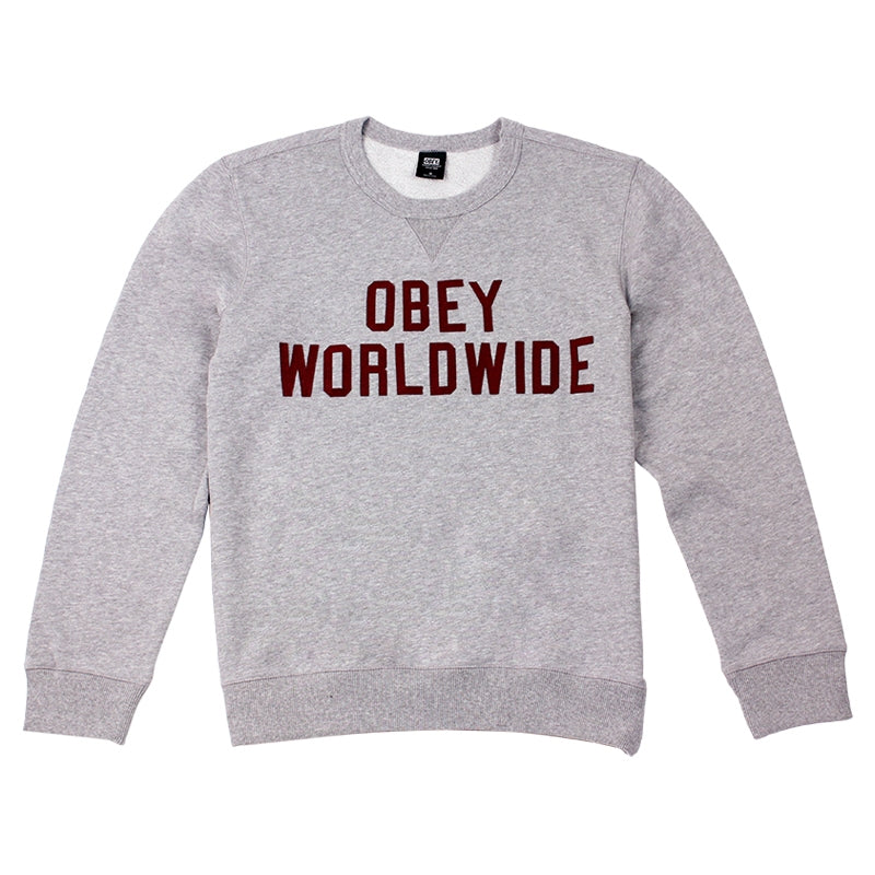 Obey Clothing Global Crew in Heather Grey
