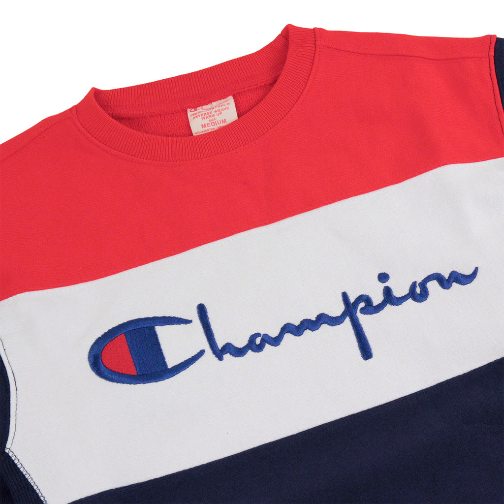 Champion 3 Panel Crew Neck Sweatshirt in Navy / White / Red - Detail