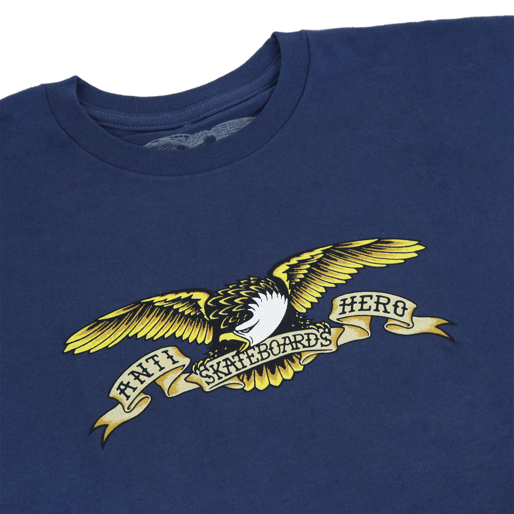 Anti Hero Skateboards Eagle T Shirt in Harbour Blue - Detail