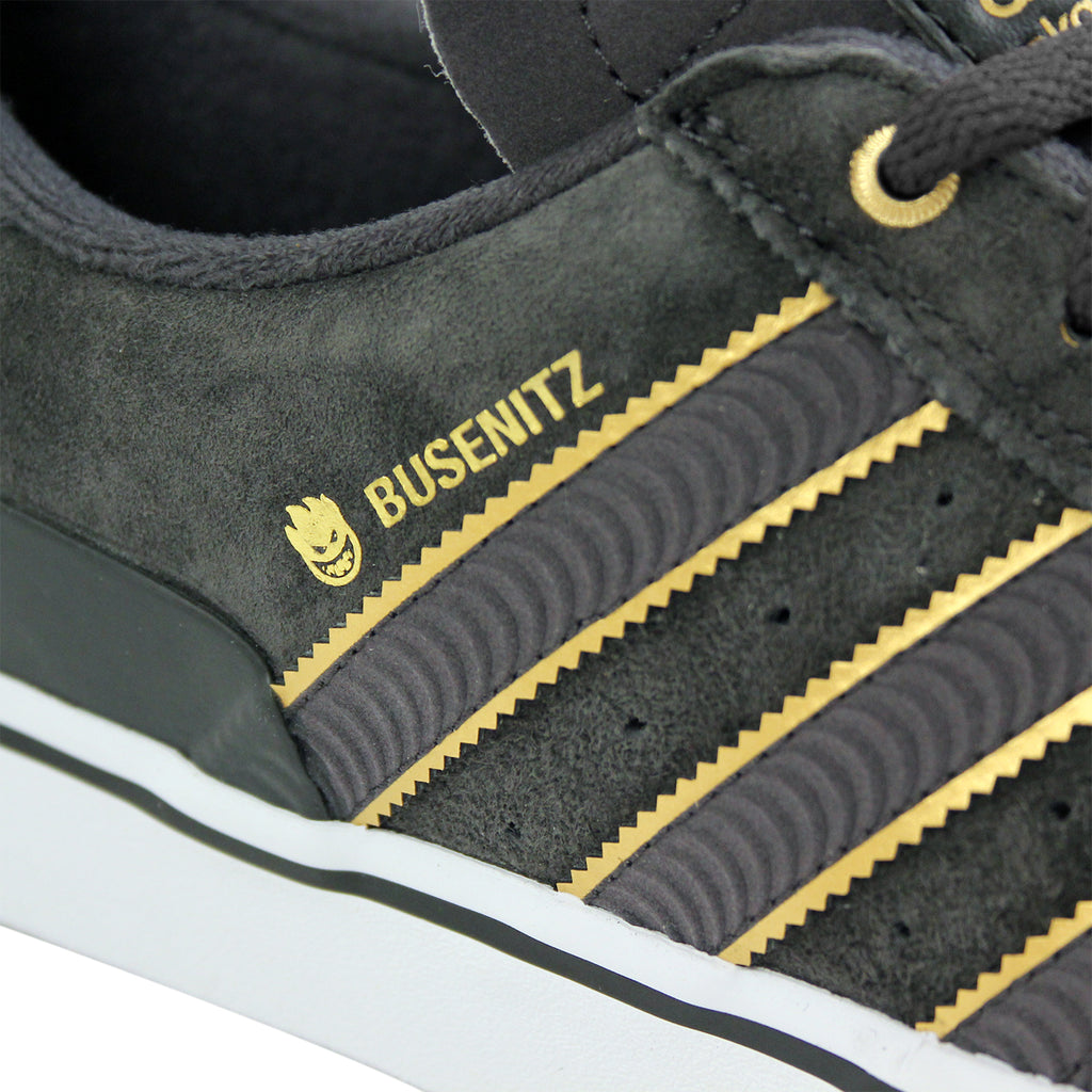Adidas Skateboarding x Spitfire Busenitz Vulc Shoes in Carbon/Carbon/Gold Metallic - Detail 2