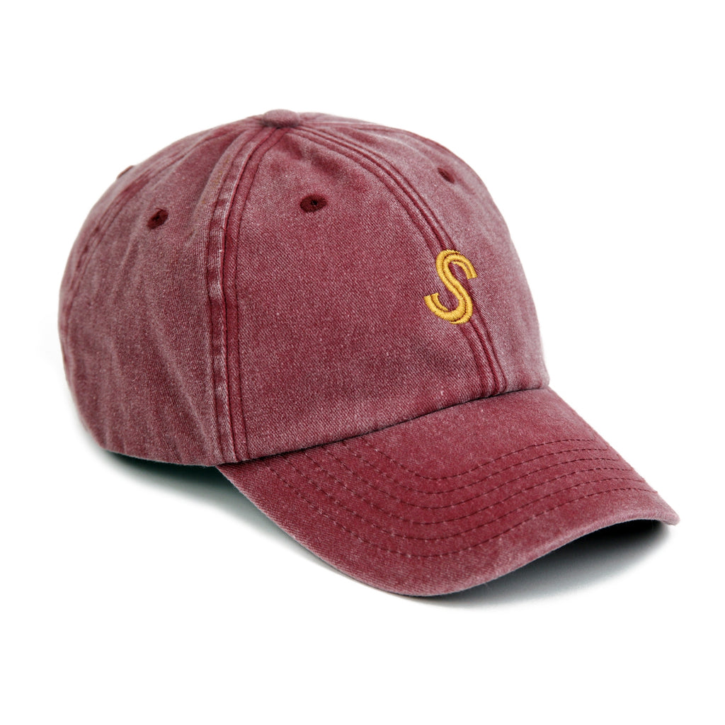 Signature Clothing S Logo Dad Cap in Washed Red / Gold