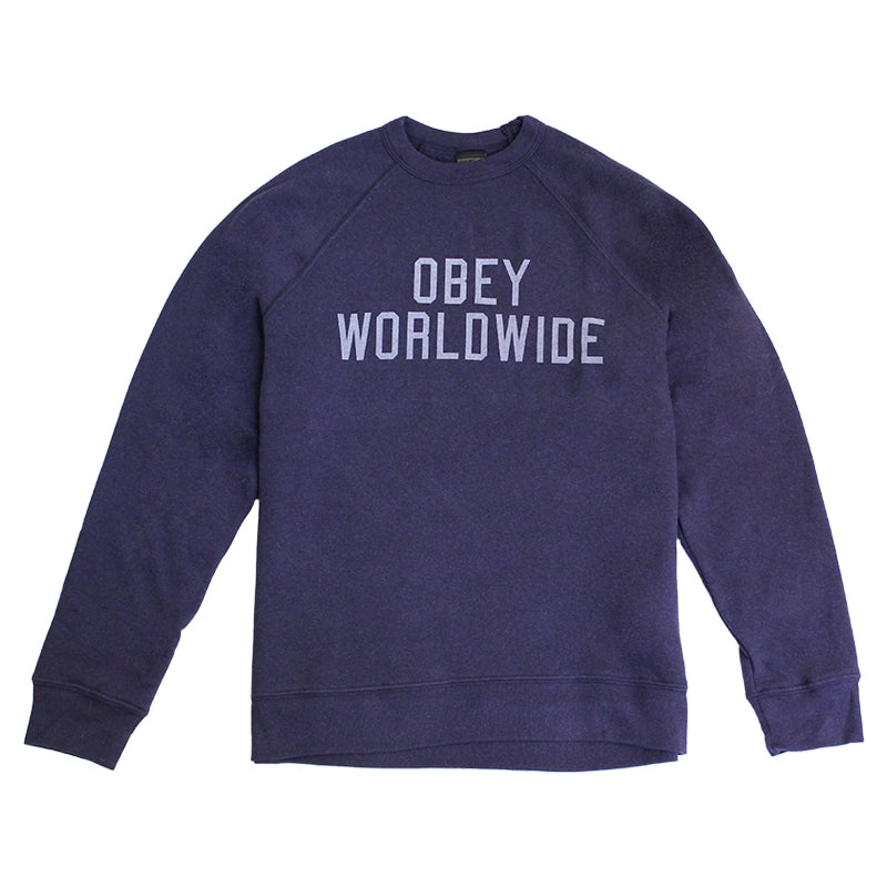 Obey Clothing Corner Block Crew in Mood Indigo