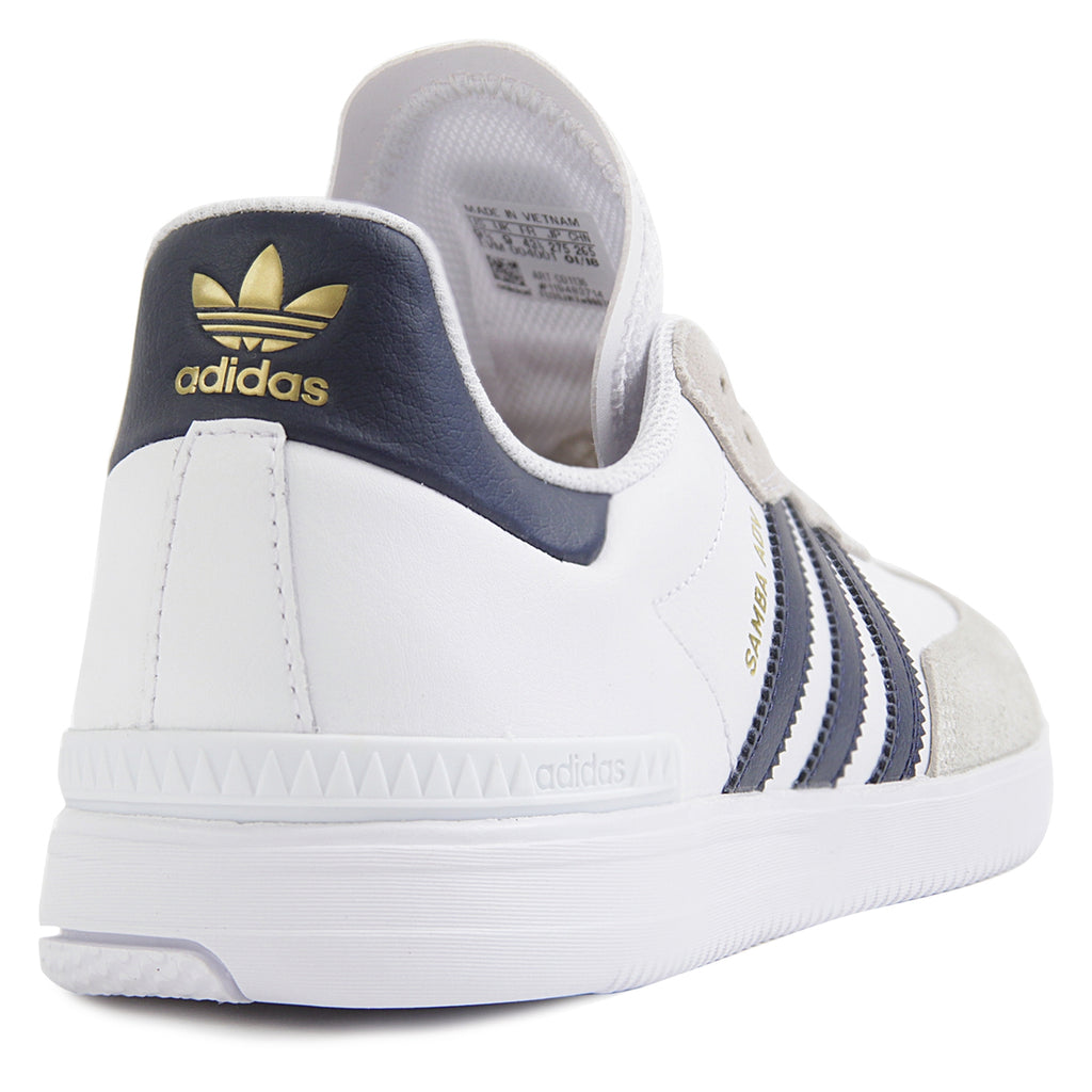 Adidas Skateboarding Samba ADV Shoes in Footwear White / Collegiate Navy / Gold Metallic - Heel
