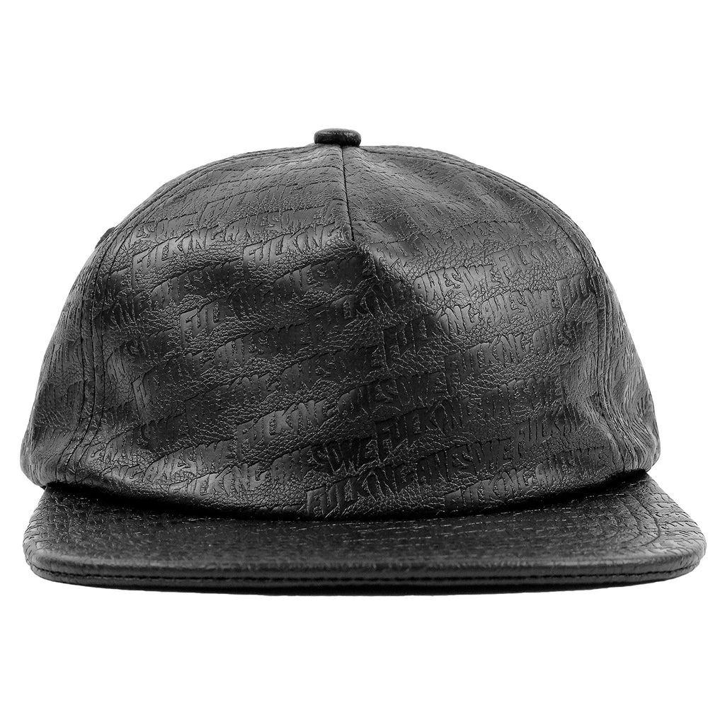 Fucking Awesome Embossed Leather 5 Panel Cap in Black - Front