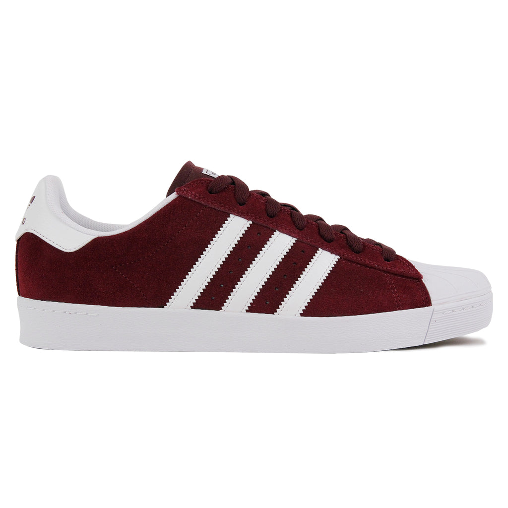 Adidas Skateboarding Superstar Vulc ADV Shoes in Maroon / FTW White / FTW White
