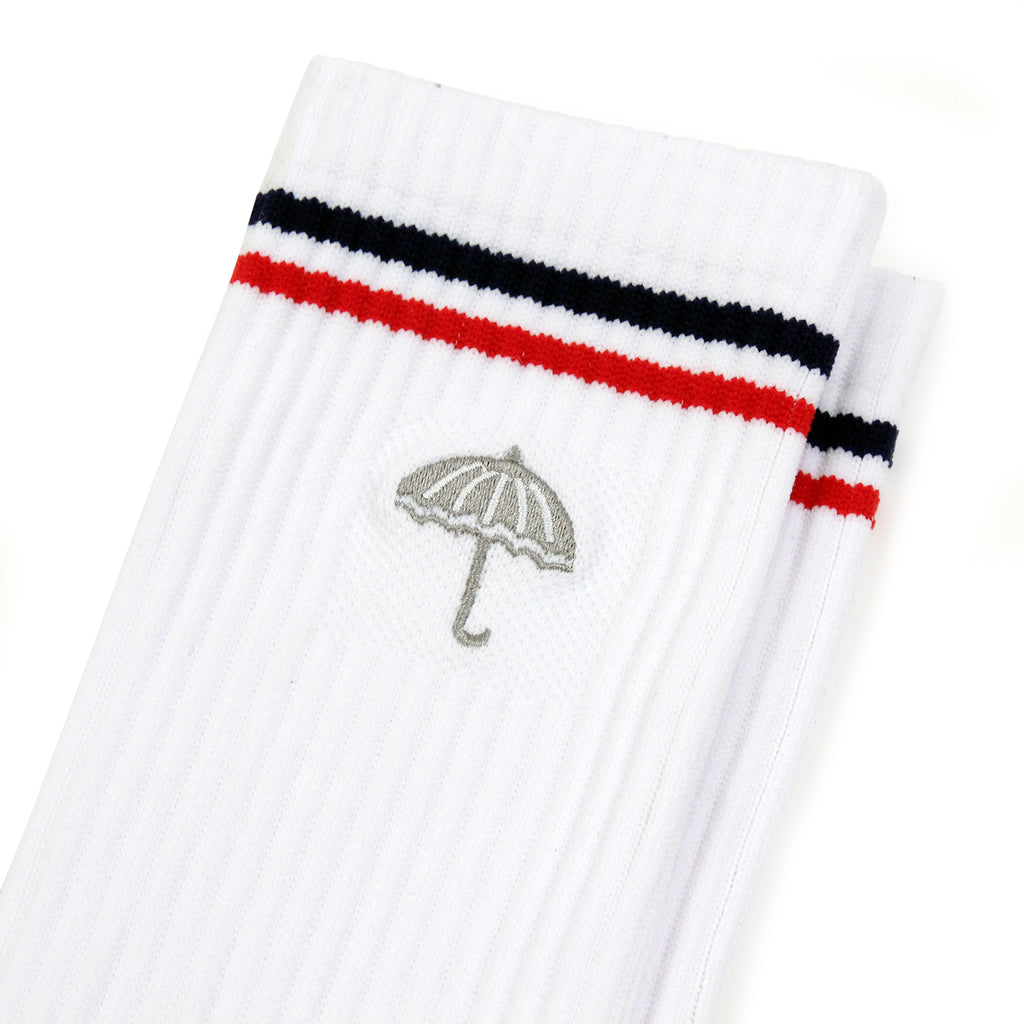 Helas Court Socks in White / Grey - Embroidery