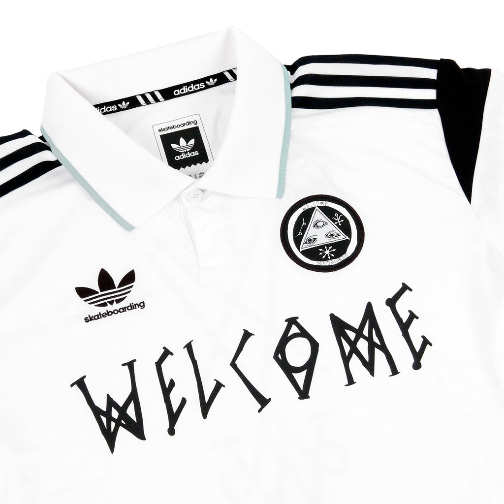 Welcome Skateboards x Adidas Skateboarding Jersey in White - Detail