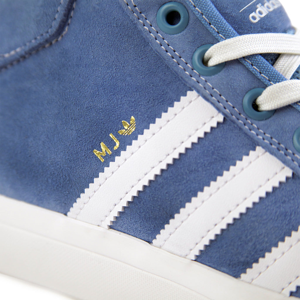 Adidas Skateboarding x Marc Johnson Matchcourt Mid Shoes in Light Blue / Neo White / Gold Metallic - Stripe