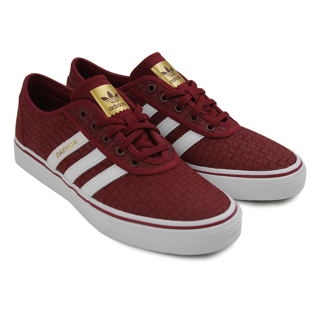 Adidas Skateboarding 'Daewon' Adi Ease Shoes in Collegiate Burgundy / Footwear White / Gold Metallic - Pair