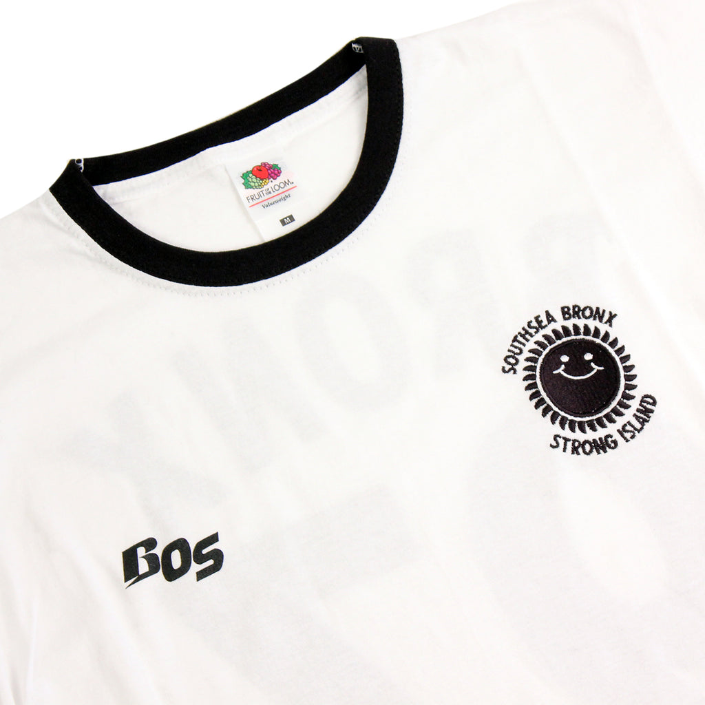 Southsea Bronx Strong Island Football T Shirt in White / Black - Detail