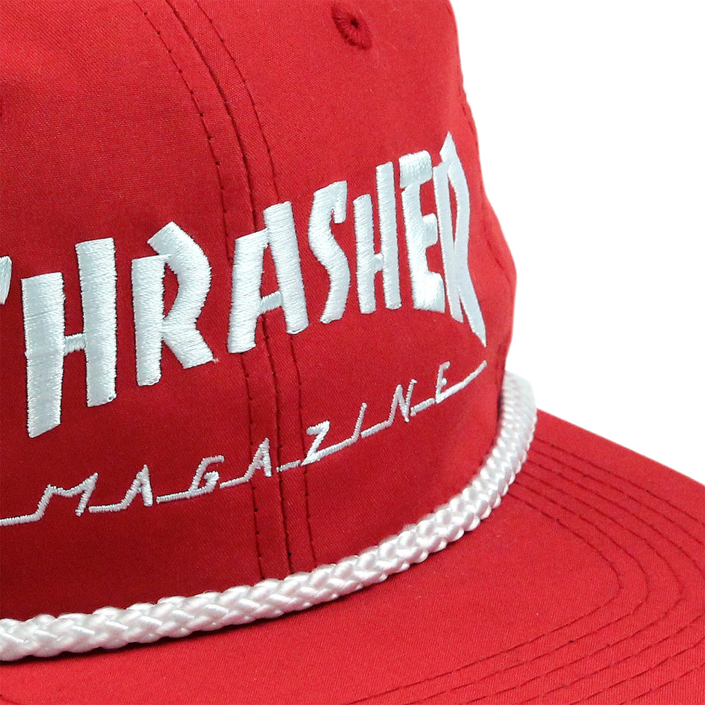 Thrasher Rope Snapback Cap in Red / White - Detail