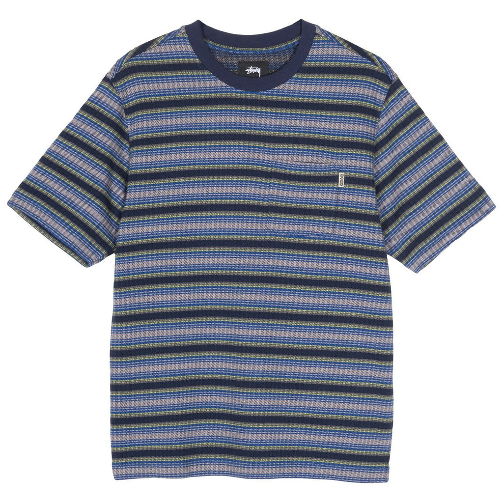 Stussy Obre Stripe Crew T Shirt in Navy