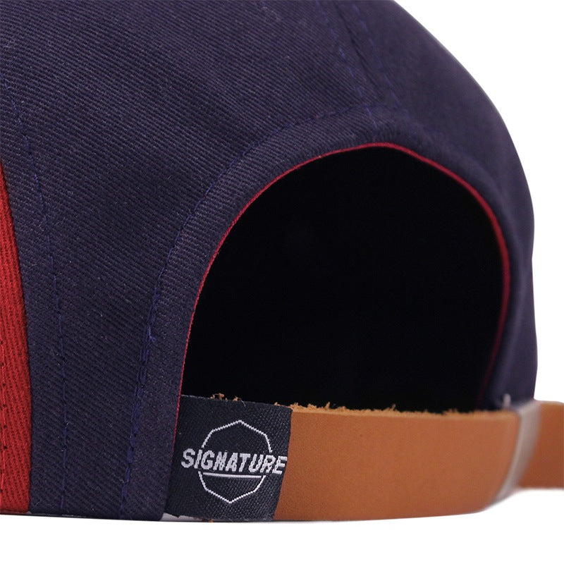 Signature Clothing Primitus 5 Panel Cap in Navy / Blood Red - Back strap
