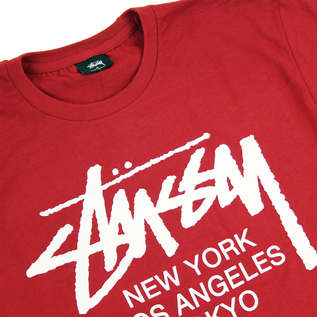 Stussy World Tour T Shirt in Dark Red - Detail