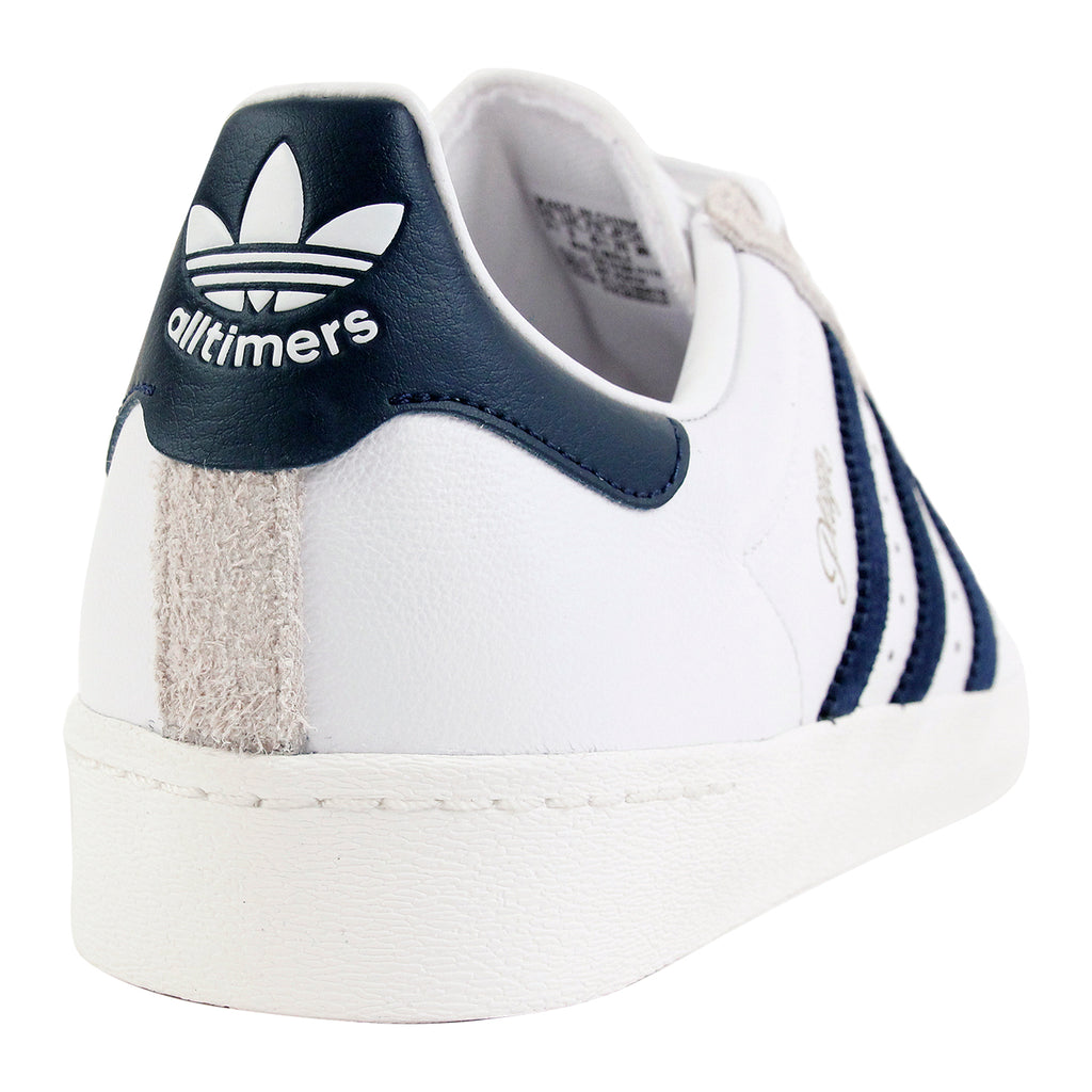 Adidas Skateboarding Superstar Vulc x Alltimers Shoes in FTW White / Collegiate Navy - Heel