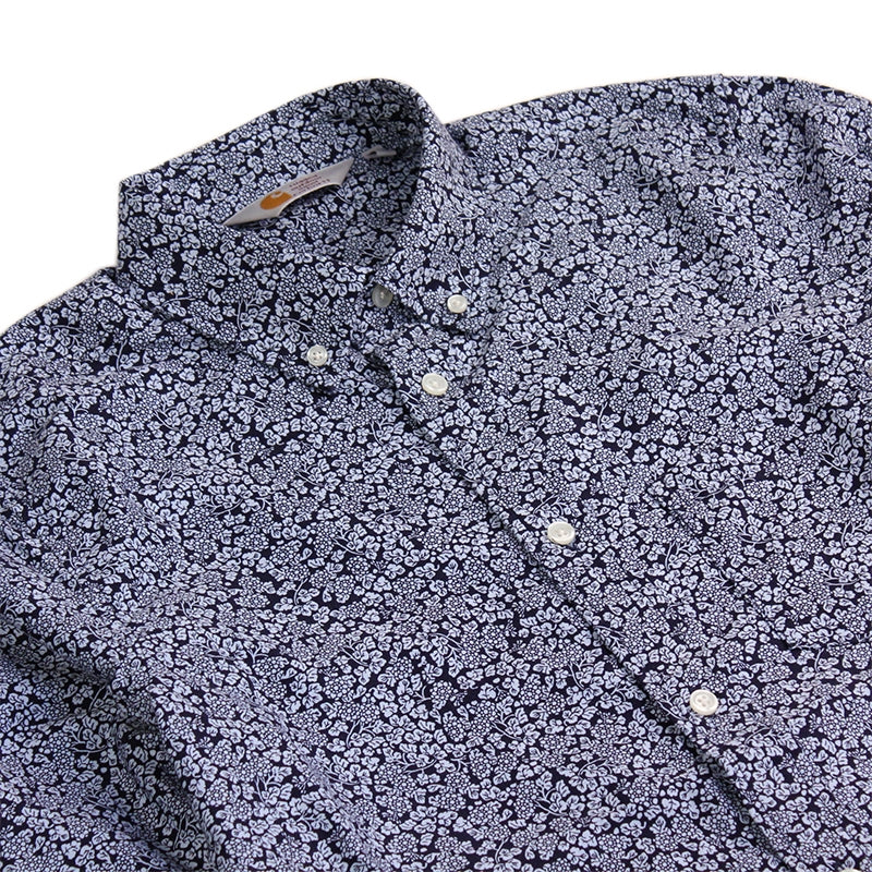 Carhartt WIP Holford L/S Shirt in Sky / Navy / Floral - Detail
