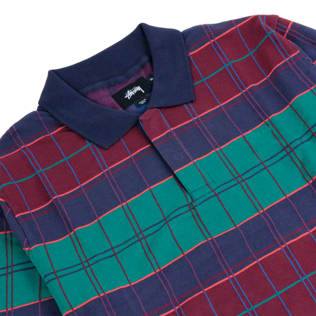Stussy Plaid L/S Polo in Navy - Detail