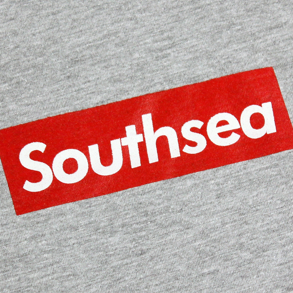 "Bored of Southsea Southsea"" T Shirt in Heather Grey / Red Box - Print"