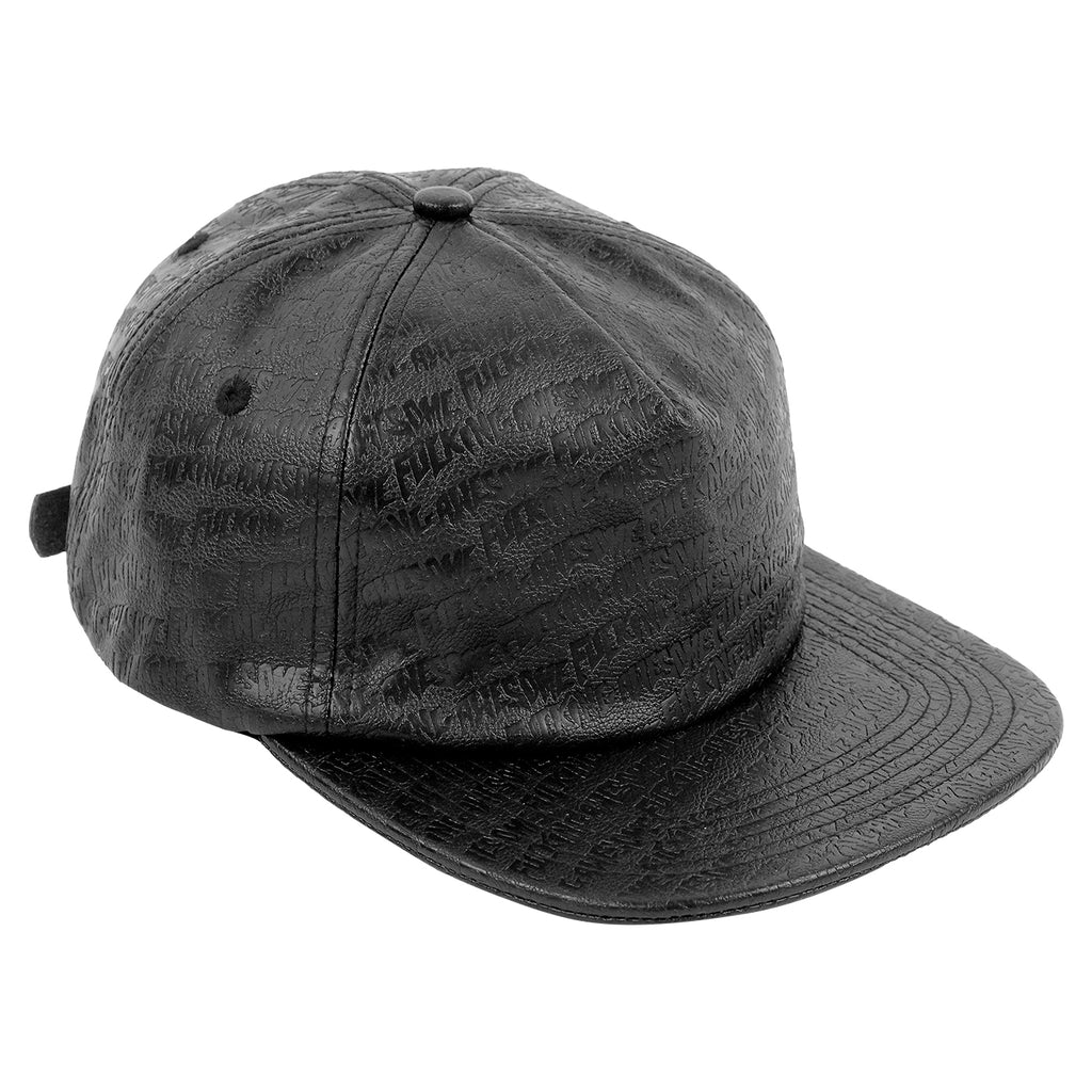 Fucking Awesome Embossed Leather 5 Panel Cap in Black