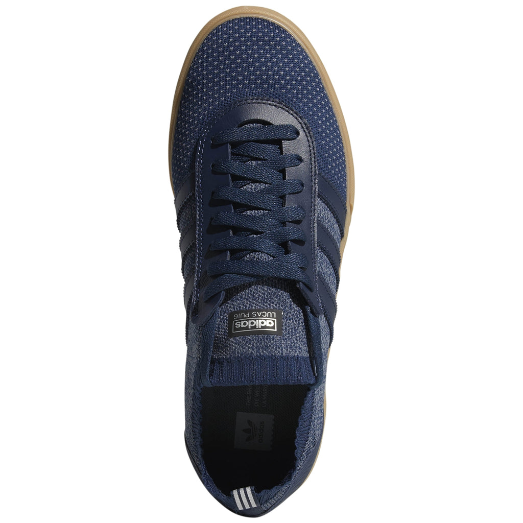 Adidas Lucas Premiere Primeknit Shoes in Collegiate Navy / Onix / Gum - Top