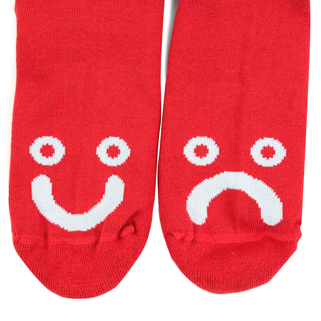Polar Skate Co Happy Sad Classic Socks in Red - Faces