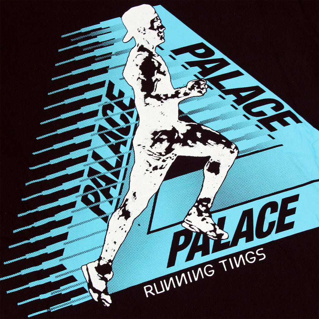 Palace Running Tings T Shirt in Black - Print