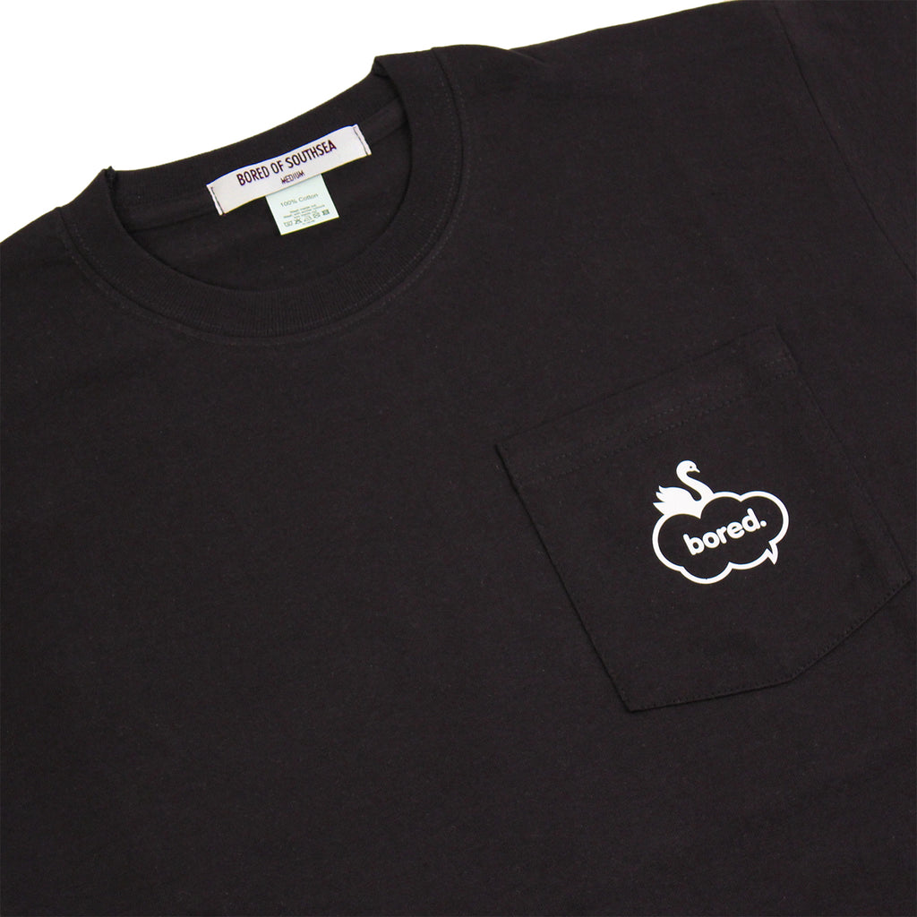 Bored of Southsea Swan Pocket T Shirt in Black - Detail