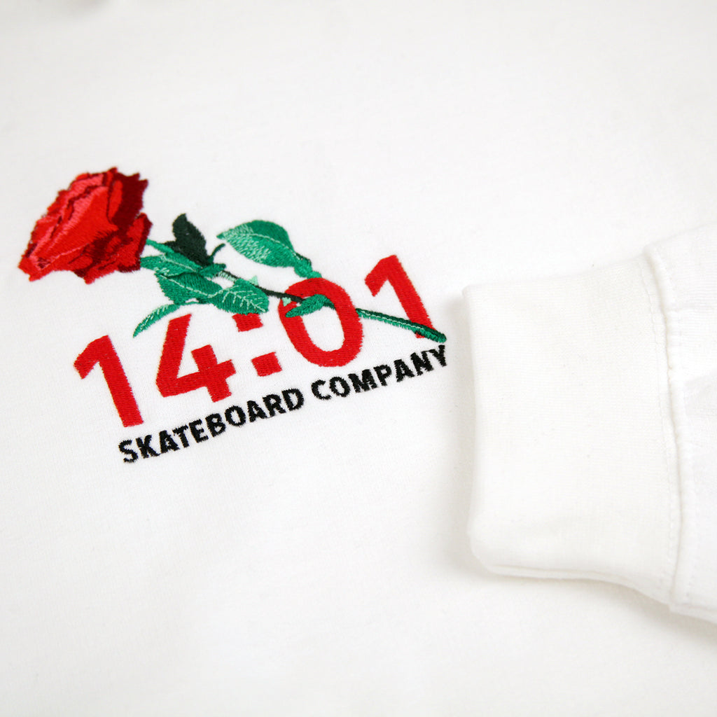 14:01 Skateboard Co Passionate Hoodie in White - Detail 2