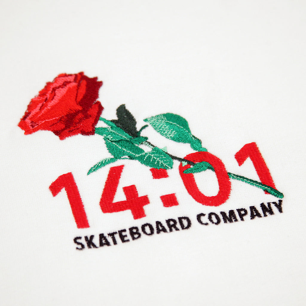 14:01 Skateboard Co Passionate Hoodie in White - Embroidery