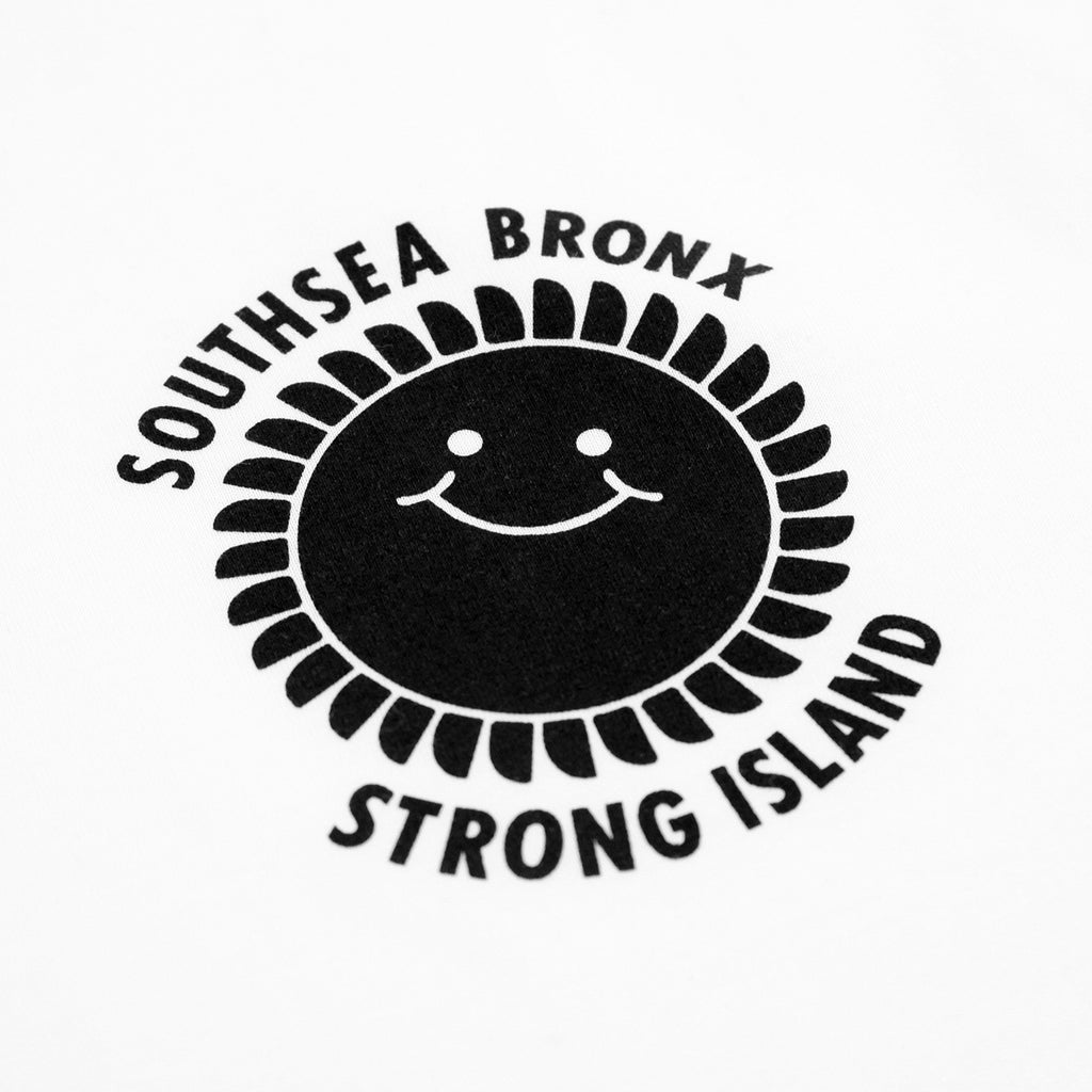 Southsea Bronx Strong Island Ringer T Shirt in White / Black - Print