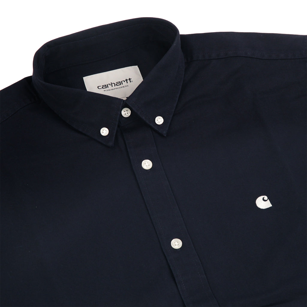 Carhartt L/S Madison Shirt in Dark Navy / Wax - Detail