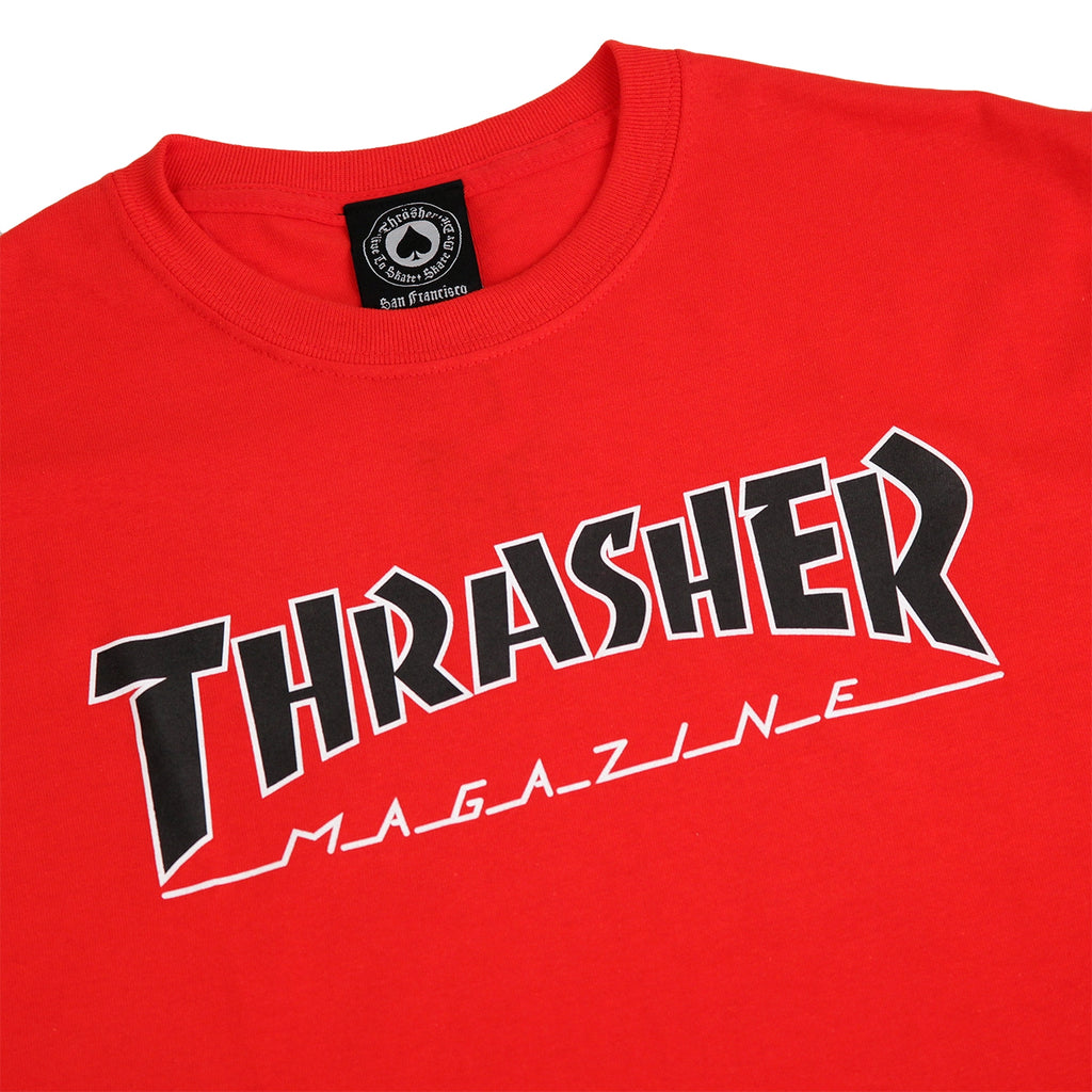 Thrasher Outlined T Shirt in Red - Detail