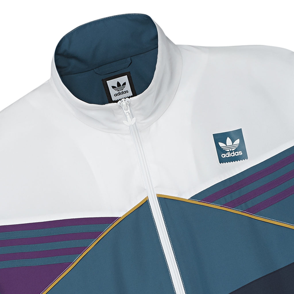 Adidas Skateboarding The Court Jacket in White / Collegiate Navy / Tribe Purple / Real Teal - Detail