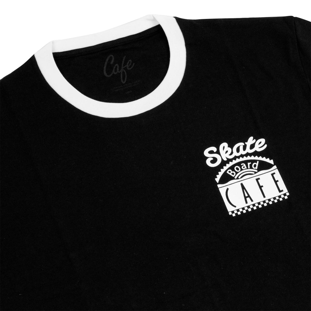 Skateboard Cafe Diner Ring T Shirt in Black / White - Detail