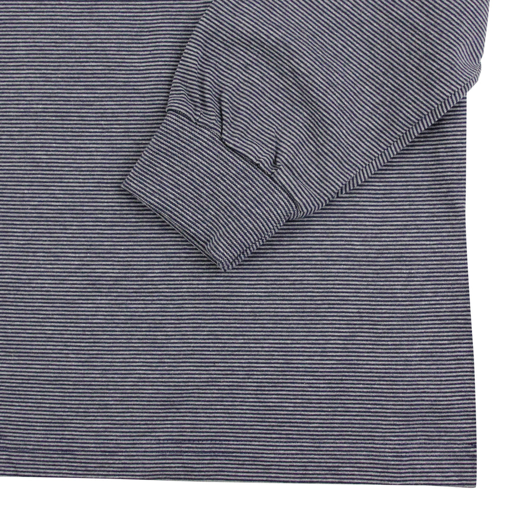 Polar Skate Co Micro Strip L/S T Shirt in Grey / Navy - Cuff