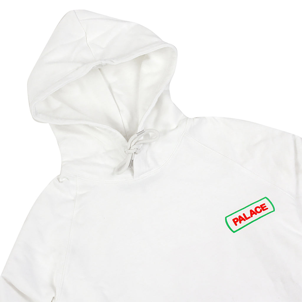 Palace Caveman Hoodie in White - Detail