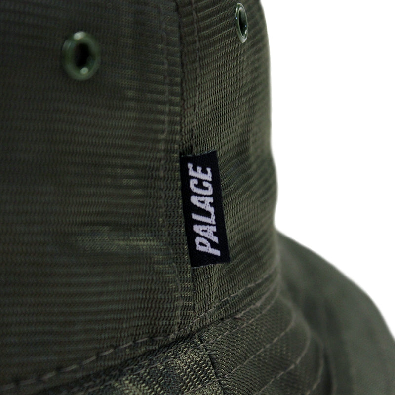 Palace Smiler Bucket Hat in Olive - Label