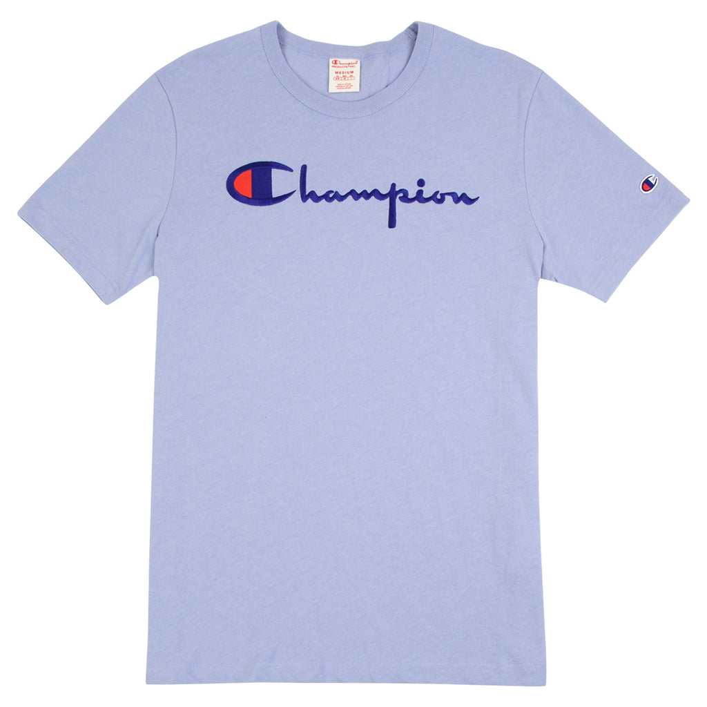 Champion Reverse Weave Script Logo T Shirt in Lilac