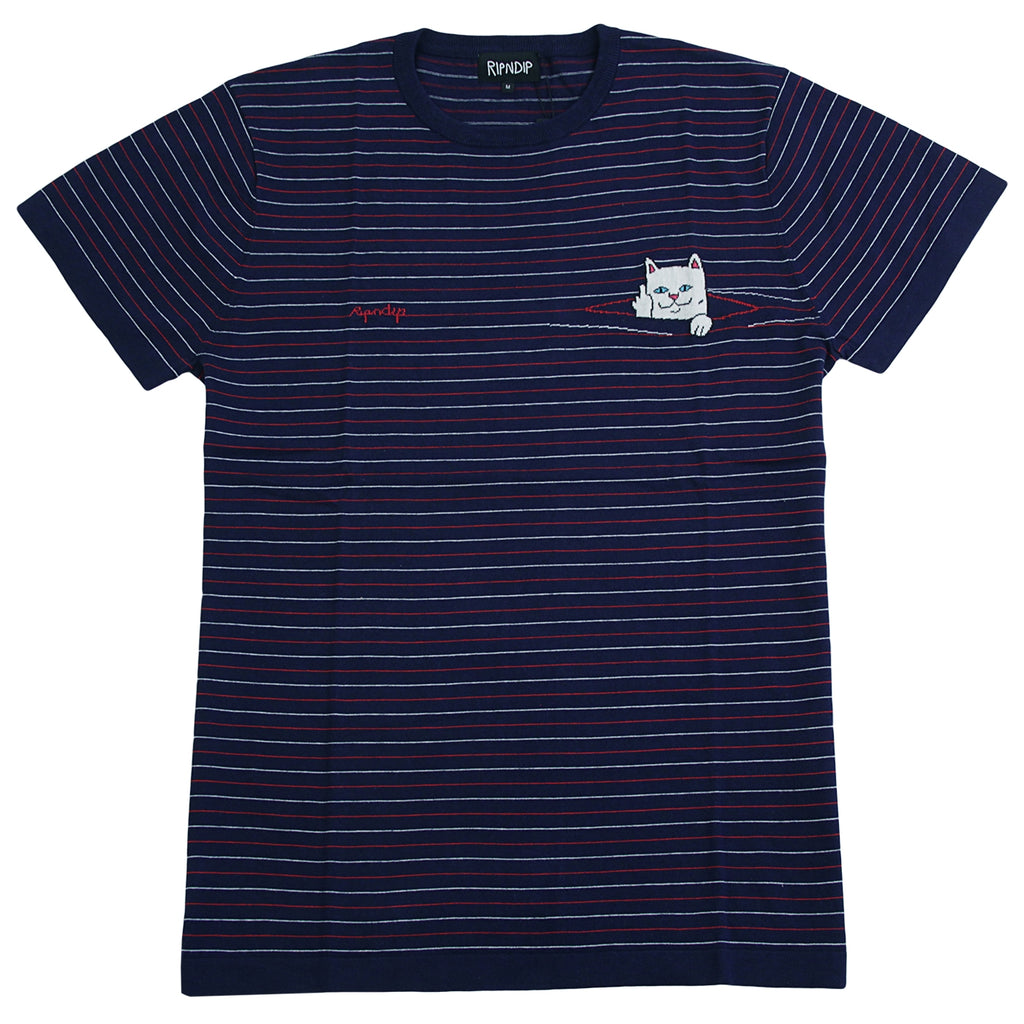 RIPNDIP Peeking Nermal Jacquard Knit T Shirt in Navy / Red
