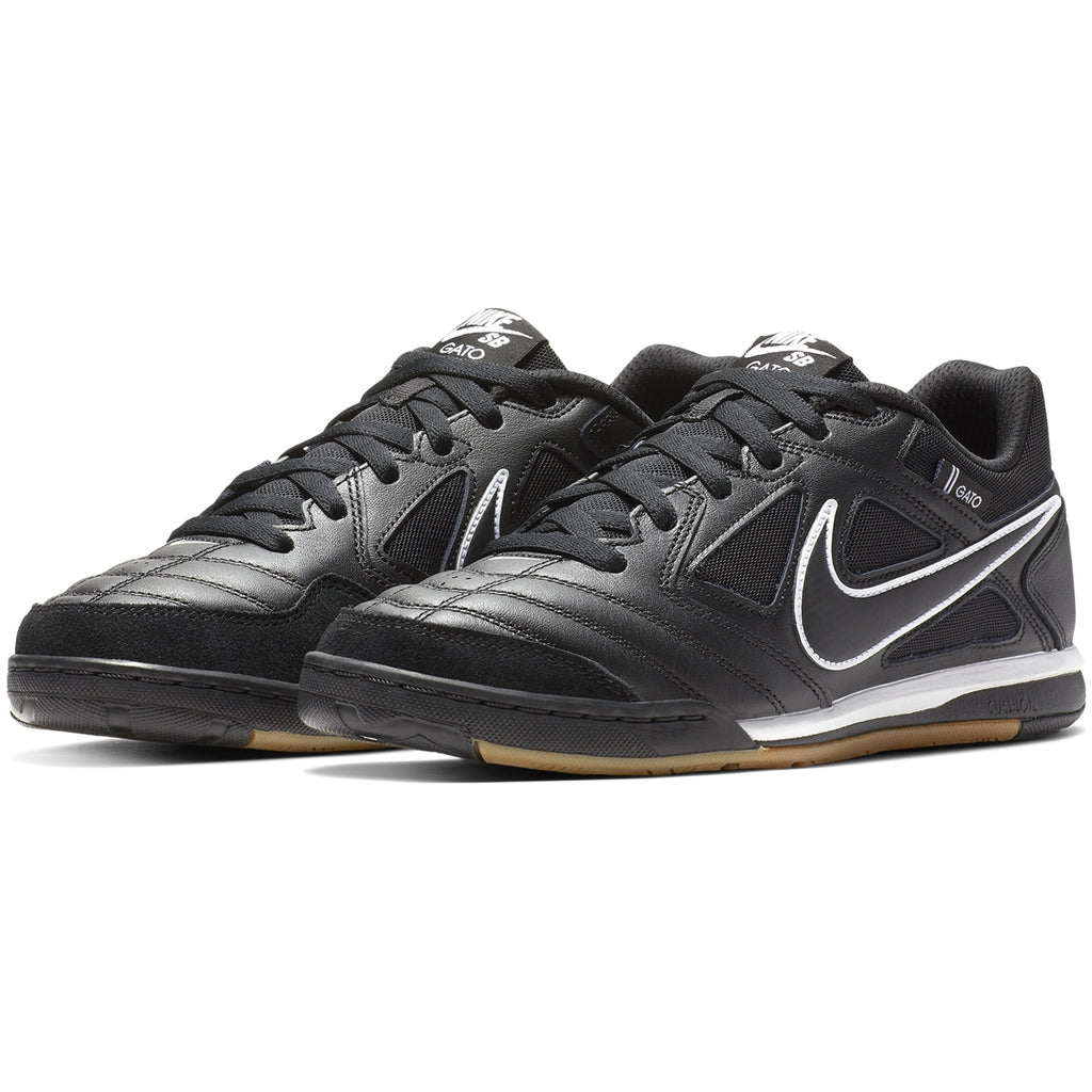 Nike SB Gato Shoes in Black / Black - White - Gum Light Brown - Pair