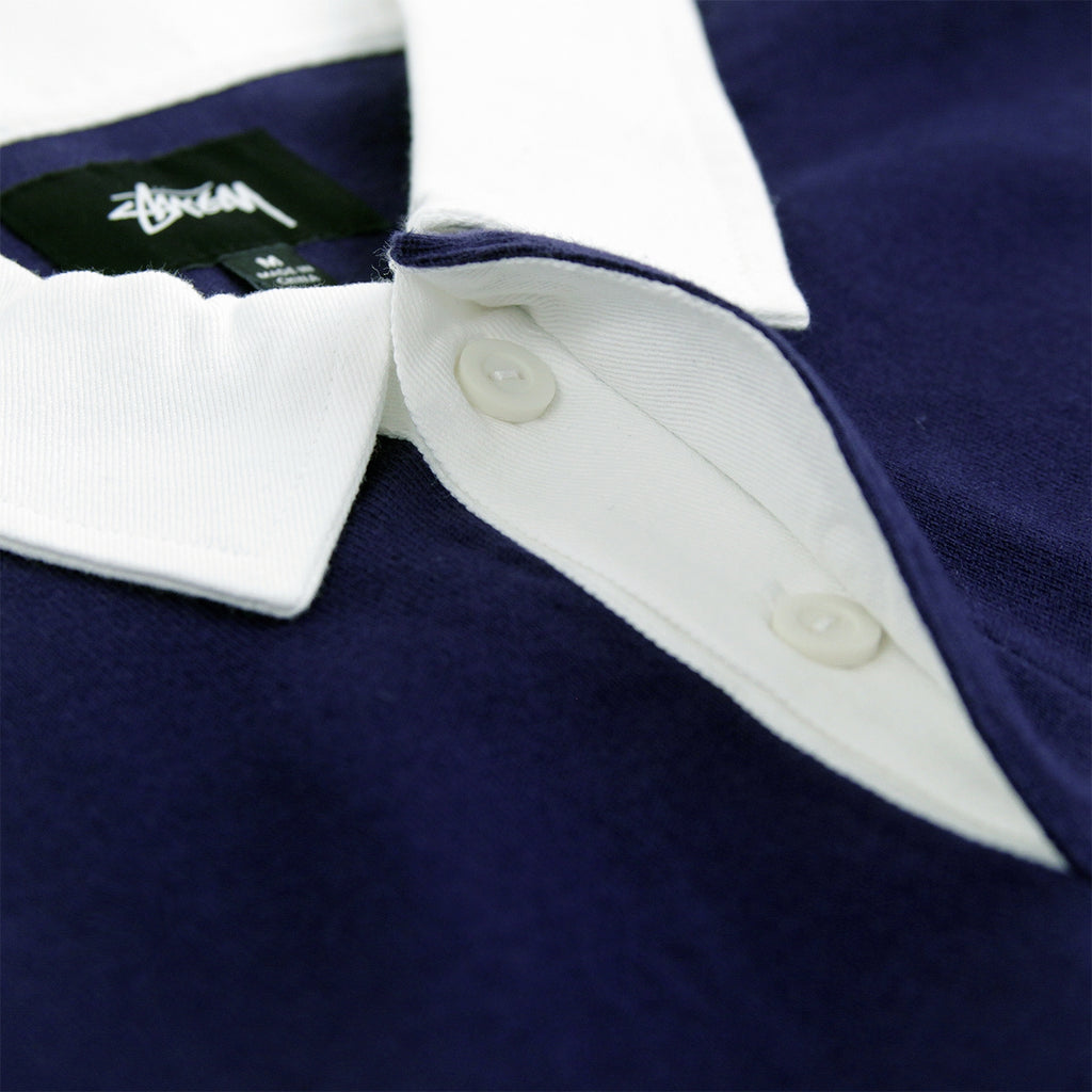 Stussy Lucas Stripe L/S Rugby Shirt in Navy - Collar