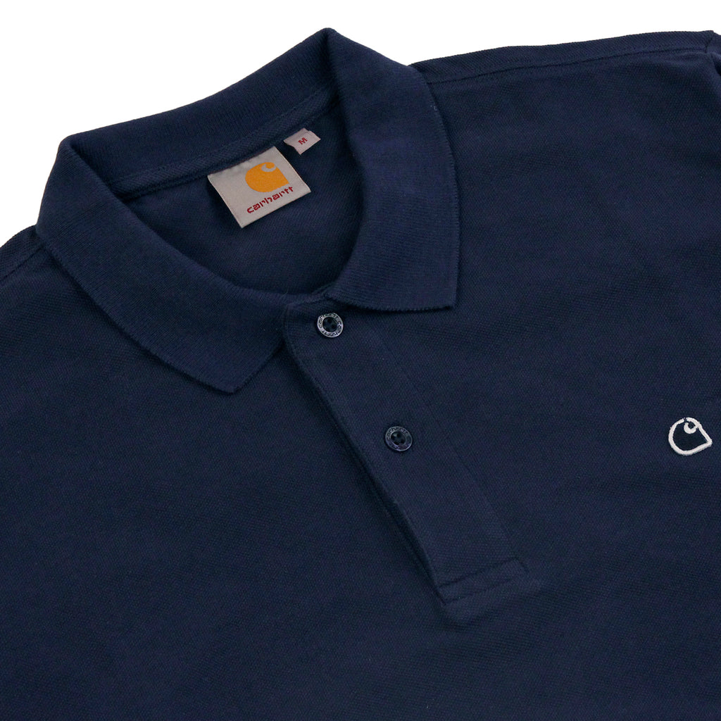 Carhartt WIP L/S Patch Polo Shirt in Blue - Detail