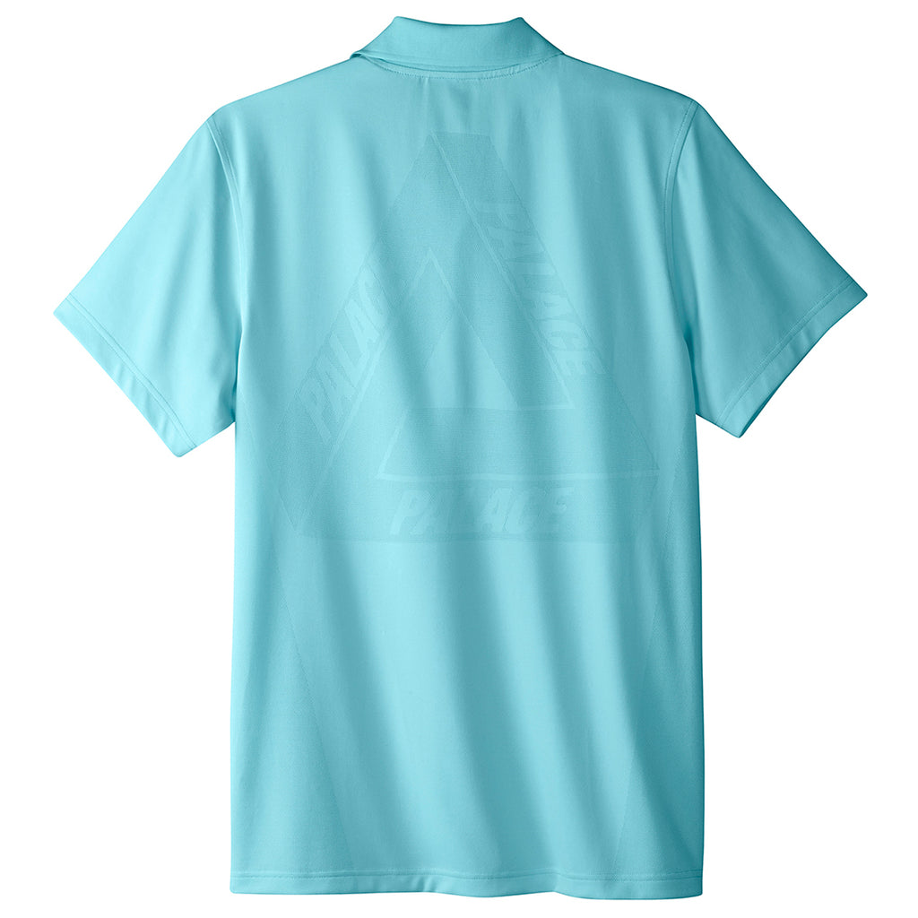 Palace x Adidas Knitted Polo Shirt in Clear Aqua