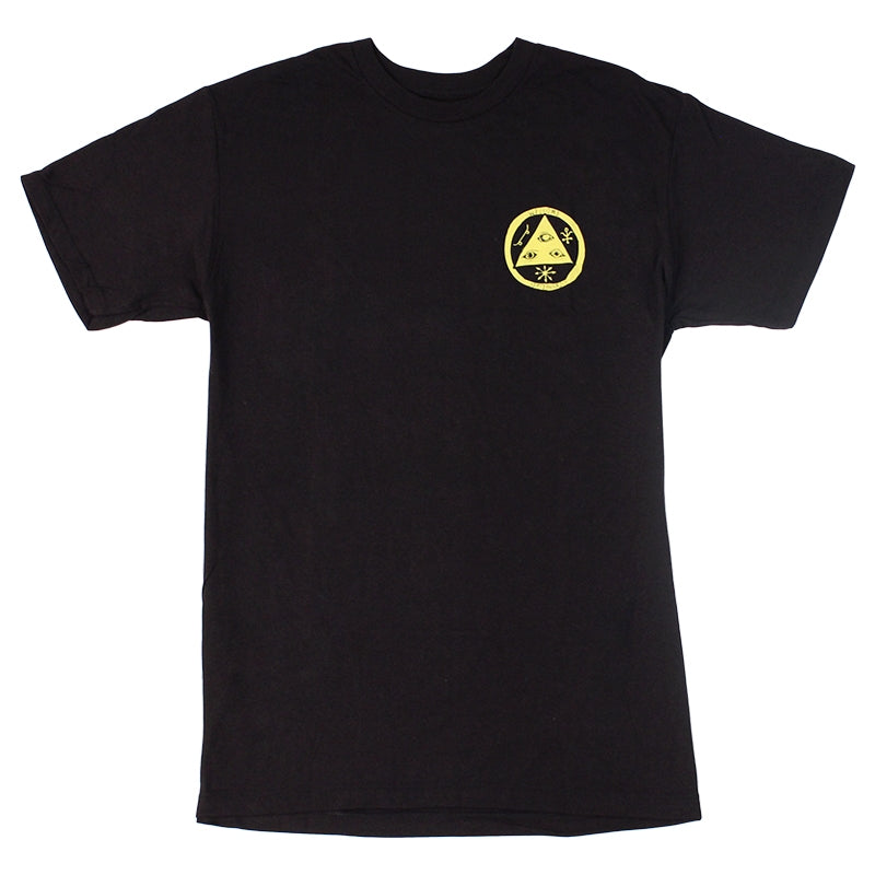 Welcome Skateboards Talisman Discharge T Shirt in Black/Yellow