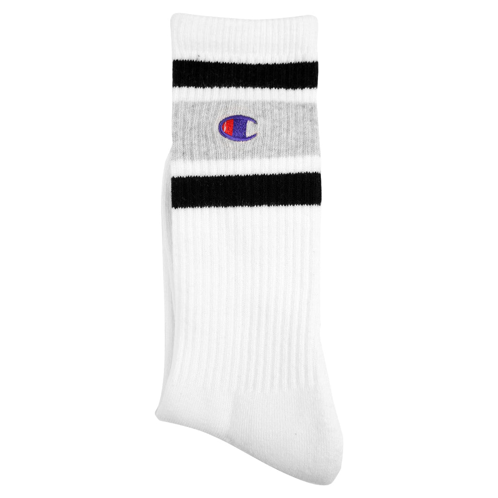 Champion Reverse Weave Athletic Socks in White / Oxford Grey / Black - Detail